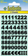 Self Adhesive Label Stickers on sheets Numbers 10mm Black - BL73