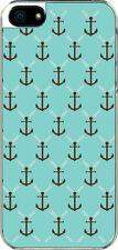 iPhone 5 Small Aqua and Brown Anchor Design Sticker on Hard Case Cover