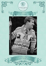 Vintage knitting pattern- mens christmas reindeer chunky jacket jumper cardigan
