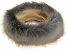New Women Grey Thick Fluffy Fox FAUX Fur Headband Hat Winter Ear Warmer Ski