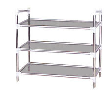 Shoe Rack Organizer with 3 Tier Layers Stainless Steel New #031-693