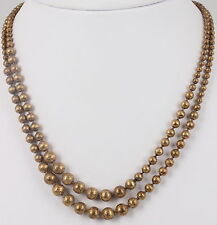 COSTUME HEAVY GOLDTONE BEADS ANTIQUE DOUBLE STRAND NECKLACE FASHION 5492