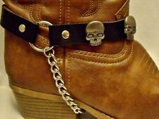 BLACK LEATHER SKULL BOOT CHAINS STRAPS BIKER WESTERN COWBOY BUCKLE