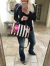 Betsey Johnson Stripe Satchel bag tote Daisy flower crossbody black bone pink