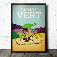 green jersey maillot vert tour de france poster cycling retro vintage