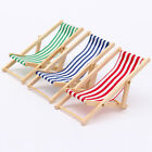 Foldable Dolls House Miniature Wooden Deckchair Lounge Beach Chair 1:12 Scale