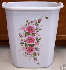 HAND PAINTED ROSES/SHABBY TO CHIC/WASTE PAPER BASKET