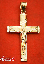 Real 10k Gold JESUS CROSS CRUCIFIX Pendant Charm Piece Diamond Cut Design