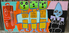 "ORIGINAL BOB HOKE OUTSIDER ART ""HANDLE WITH CARE"" PAINTING 2012"