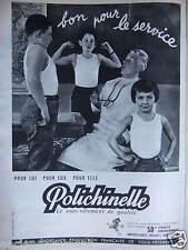 PUBLICITÉ 1960 POLICHINELLE LE SOUS-VÊTEMENT POUR LUI POUR ELLE - ADVERTISING