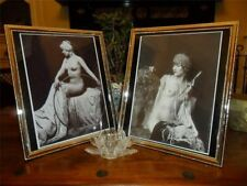 ART DECO NUDE PIANO SHAWL LADIES LADY SILVER PLATED GLASS PICTURE PHOTO FRAME