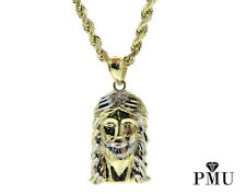 "Brand New 10k Yellow Gold Jesus Piece Pendant with 22"" 10k Gold Rope Chain Set"