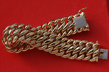 LOURDE GOURMETTE  BRACELET MAILLE AMERICAINE  OR  18 CARATS - K /   50  G