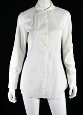 BRUNELLO CUCINELLI White Cotton Poplin Monili Button-Hole Detail Blouse L
