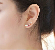 "Sparkly Rose Gold - 1"" - Zircon Crawler Climber Stud Earrings"