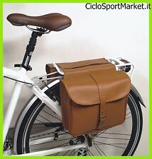 "Bag bicycle ECO-LEATHER Double - Model DIEFFE ""Bisaccia Vintage"" - Brown"