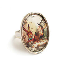 Alice in Wonderland ring The Mad Hatter's tea Party cup silver adjustable pot