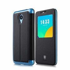 Custodia cover flip case nero con supporto e caller id display per Meizu M1 Note