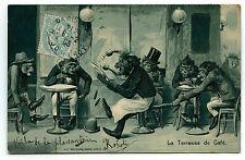 SINGE MONKEY le garcon,serveur ,  terrasse de café, gaufré , embossed . relief