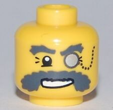LEGO - Minifig, Head w/ Monocle on Chain, Gray Eyebrows & Moustache - Yellow
