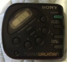 Sony FM/AM Walkman Radio Handheld Belt Clip Memory Clock Black