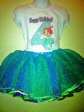 The Little Mermaid Dress 2 Pc Ariel Tutu Birthday set 1T,2T,3T,4T,5,6,7,8 ,9 Y