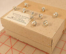"144 pcs Wholesale vintage Czech rhinestone metal buttons silver pearl 0.5"" 12mm"