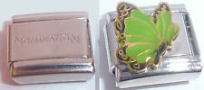 GREEN BUTTERFLY 9mm Italian Charm +1x Genuine Nomination Classic Link N30 AUGUST