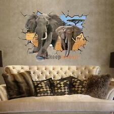 3D Animal Wild Elephant Wall Sticker Home Decor Wall Art Removable Decal Mural