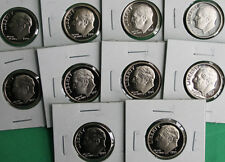 1990 - 1999 PROOF Roosevelt Dime Collection 10 Ten Cent Coins US Mint Proof Set