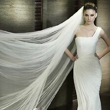 2.8m 2 Tiers Off White Cream Cathedral Soft Tulle Wedding Bridal Veil With Comb