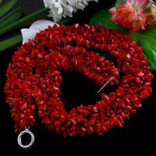 """Strand Natural Dyed Red Sea Coral Gemstone Chips Band Jewelry Necklace Gift 18"""""""