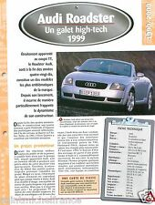 Audi Roadster 4 Cyl. Turbo 1999 Germany Allemagne Car Auto Voiture FICHE FRANCE