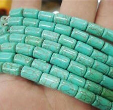 Pretty!  6x9mm Green turquoise barrel loose beads 15""
