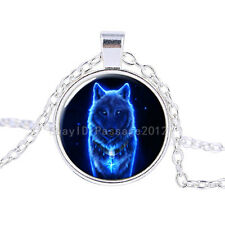 Vintage Fluorescence Wolf Cabochon Tibetan Silver Glass Chain Pendant Necklace #