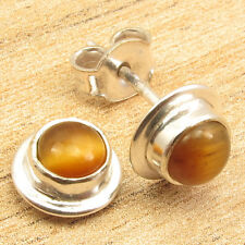 SHOPPING WITH PAYPAL ! 1.6 Grams Earrings ! TIGER'S EYE Silver Plated Jewellery