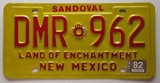 New Mexico 1982 SANDOVAL COUNTY License Plate NICE QUALITY # DMR-962