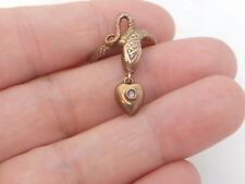 9ct/ 9k rose gold Diamond snake & hanging heart pendant ring, 375