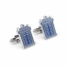 New Cool Doctor Who Men's Cufflinks Phone Box Enameled Metal Police Blue TARDIS