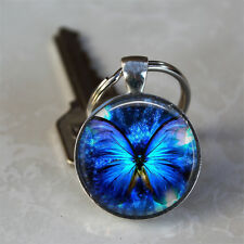 Blue Glowing Butterfly Glass Dome Keychain (GDK0235)