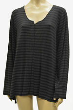 PRISA COLLECTION EUROPEAN LAGENLOOK ARTSY JERSEY PLEATED PULLOVER BLOUSE BLK WHT