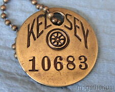 Vintage Tool Check Brass Tag: KELSEY HAYES Automotive Supplier; Wheels & Brakes