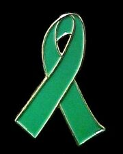 Green Ribbon Pin Kidney Cancer Leukemia Bipolar Organ Transplant Awareness New