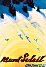 Art de voyage mont soleil ecole suisse de ski ski poster print