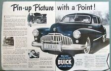 PIN UP PICTURE WITH A POINT Original 1946 Buick Four Door Sedan Ad