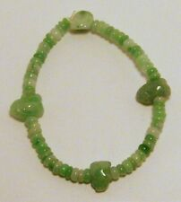 Brand new hand strung natural green Jade elastic bracelet, 7 to 8 inches.