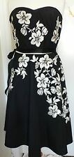 12 Monsoon Black and Cream Silk Strapless Dress Very 1950's Vintage Style