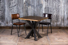 STEEL X FRAMED RESTAURANT TABLE INDUSTRIAL STYLE 80X80CM PINE TOP CAFE TABLE