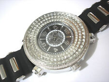 Iced Out Bling Bling Big Case Rubber Band Techno King Men's Watch Silver # 3666