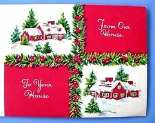 4 VINTAGE CHRISTMAS FROM OUR HOUSE TO YOURS UNUSED GREETING CARDS VERY NICE